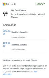 Missa inte dina uppgifter genom påminnelser från Microsoft Planner